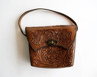 Vintage Butterfly Clasp Petite Leather Hand tooled Shoulder Bag