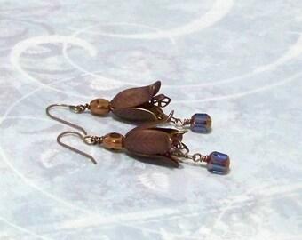 Double Lily Brass Earrings