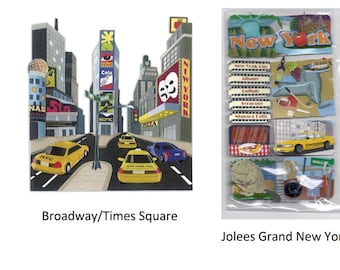3d Stickers - NEW YORK Stickers | Scapbooking | The Big Apple | Times Square | NYC