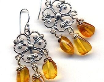 Amber Earrings. Natural Amber Earrings, Sterling Silver ear wire  Earings, Topaz Earrings, Baltic Amber Earrings, Petite Chandelier Earrings