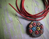 multi color bouquet and leather, Handcrafted Beads, Ceramic Beads, Pendant, Pendants, Art Bead, Classic Bead, tracee, stoneware