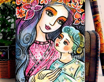 Mother and Child Painting mother and son Motherhood Folk Art Mothers Day Gift Mothers Love, home decor wall decor woman art on wood, 5x7