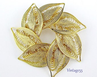 Brooch Leaves Gold tone Filigree Wire
