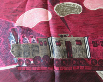 Vintage Scarf, Train Images, Square Scarf, Vintage Accessory, Purple and Pink, Mod Printed Scarf, Abstract Landscape, Mod Train Images