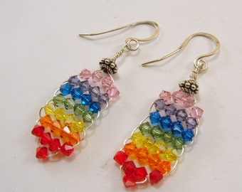 Rainbow Chakra and Sterling Silver Earrings, rainbow earrings, chakra earrings