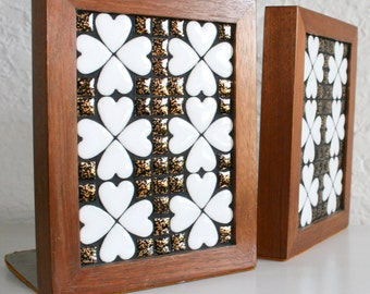 Vintage Mosaic Clover Wood Bookends