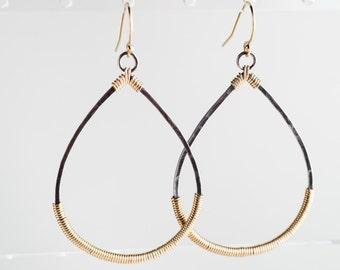 Bianca Hoop Earrings in Silver & Gold Two-toned Dangle
