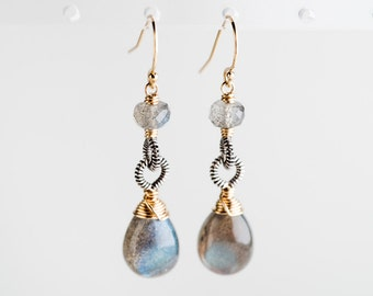 Cayla Earrings: Labradorite Gemstone Drop Earrings w/ Two-toned metal, Gold-filled & Oxidized Silver, Coiled, Elegant, Simple, Grey