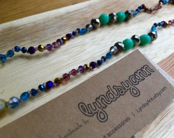 Jewel-Toned Hand Knotted Necklace