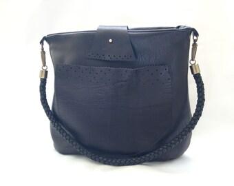 Black Leather Handbag-Buttery Soft, Slouchy