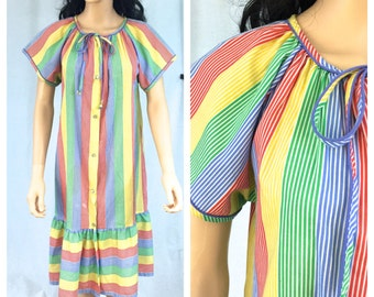 Vintage Rainbow Striped Dress. Loose. Comfortable. Rainbow Fashions New York. 1980s. Short Sleeve Summer Dress. Colorful. Large. House Coat