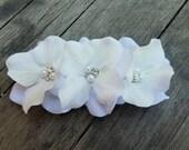 White Hydrangea French Barrette Small Flower Hair Clip Rhinestone Crystals Head Piece Bridal Flower Girl Floral Fascinator Accessory