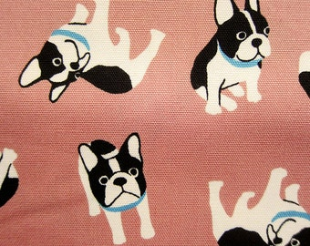 Japanese Fabric Oxford Cotton - Life With Pugs on Pink - Animal Print Fabric - Fat Quarter