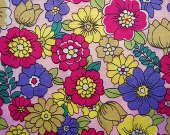 Floral Fabric By The Yard - Daisies and Blooms on Pink - Fat Quarter