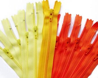 "5 YKK Zippers in Yellow - 4""5""6""7"" 8"" YKK Nylon Zippers - 4 to 8 Inch"