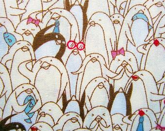 Animal Print Fabric By The Yard - Penguin Mosaic Fabric in Yellow - Half Yard
