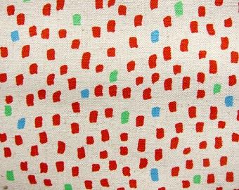 Japanese Fabric - Magic Marker Polka Dots - Cotton Linen Blend - Half Yard