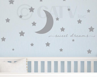 Sweet dreams with moon and stars nursery wall decal self adhesive vinyl sticker quote saying wall pattern decor