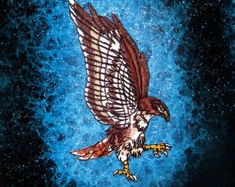 Small Swooping Red Tail Hawk Bird Iron on Patch