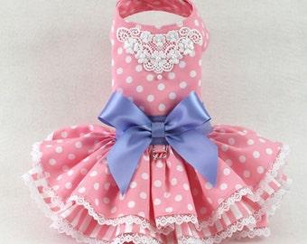 Dog Dress, Dog Harness Dress, Ruffle Dress for Dog, Polka dot Dress for dogs, Dog Fashion for small dog, Beaded dress, Easter dress, pink