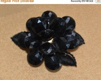 On Sale Pretty Vintage Black Floral Brooch