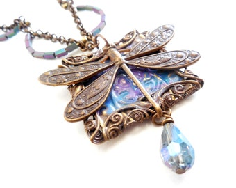 Dragonfly Pendant Necklace, Victorian Style Jewelry, Patina Layered Necklace, Iridescent Czech Glass