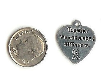 6 Together we can make a difference heart Charms Findings