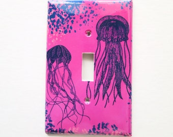 Jellyfish Switchplate Cover, Surfer beach cotttage, bathroom light switch cover, Hot Pink Navy Bedroom, Ocean art, outlet covers