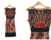 1960s MOD Dress Retro Midi Flower Print Hipster dress Tan Red Black Floral Graphic Disco Dress Sheer Sleeveless Tank Women size Medium Large
