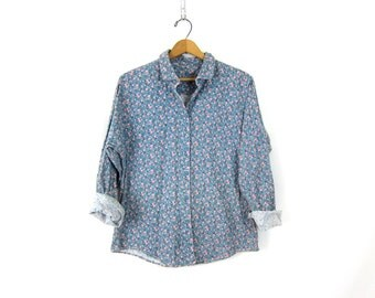 Flower Print Shirt Button Up Floral Gardening Preppy Retro Shirt Simple Blue Collar Shirt Vintage women's size