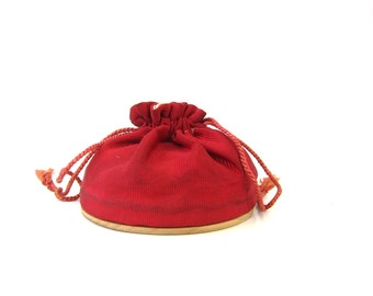 1950s Vintage Rex Fifth Avenue Vanity Kit Bag Compact Powder with Mirror Drawstring Cinch Pouch in Red Louanne's Estate Sale