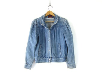 Striped jean jacket Denim Coat Vintage 80s Hipster Pinstriped jacket with Snaps Cropped fit High Collar jacket women's size Small Medium