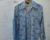 VACATION SALE Western Shirt Vintage 1970s Mens Pearl Button Extra Large XL
