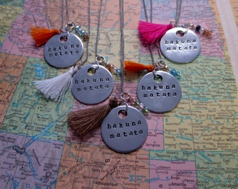 Hakuna Matata - Metal Hand Stamped Necklace
