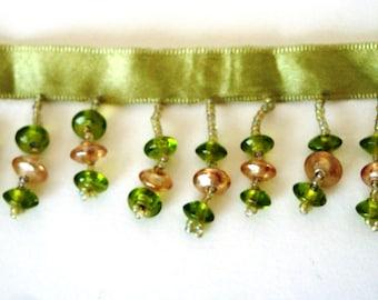 Green and Tan Beaded Trim - Purse Trim - Costume Trim - Sewing Trim - Bead Trim - Green Bead Trim - Purse Supply - Lampshade Trim