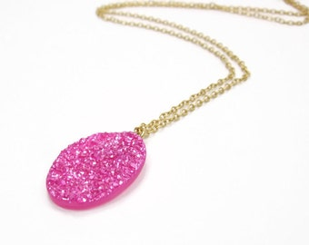 Sugar Collection - Pink Drusy Oval Pendant - Necklace Glitter Glisten Sparkle - Solitaire Pendant Delicate Small Necklace