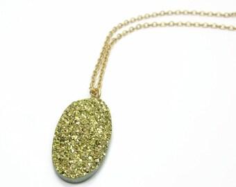 Sugar Collection - Green Gold Drusy Oval Pendant Necklace - Glitter Glisten Sparkle Solitaire Pendant Delicate Small Necklace
