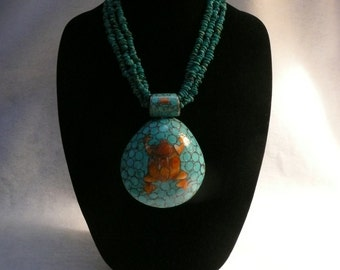 Authentic Native American Turquoise Spiny Oyster and Sterling Silver Pow Wow Regalia Necklace