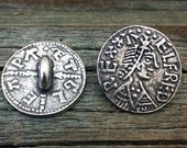 2 Gloucester Penny Coin Pewter Shank Buttons 3/4 Inch (19 mm)