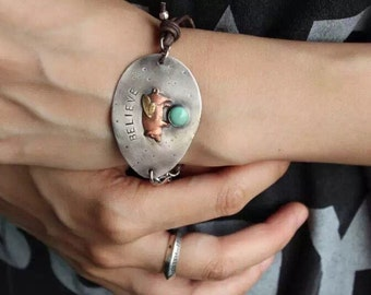 BELIEVE - RECYCLED SPOON Bracelet in Solid  Sterling Silver and Turquoise