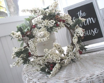 Vintage Wreath * White & Red Berries * Pine Cones * Greens