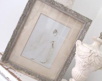 Vintage Wedding Photo * Shabby Portrait * Antique Gesso Frame
