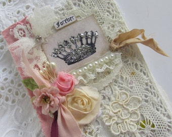 Paris Mini Journal, Travel Notebook, French Crown, Fabric Journal, Lace Book