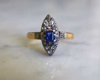 ANTIQUE SAPPHIRE VICTORIAN French 18k rosegold rosecut diamond halo .4 ctw emerald cut vintage engagement navette ring size 8.25 circa 1880