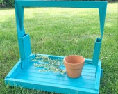 Large Turquoise Wood Caddy Rustic Tray with Handle