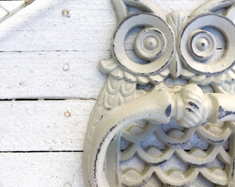 Owl Door Knocker, Distressed Almond, Autumn Decor, New Home, Country Home