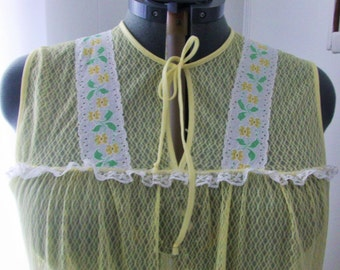 Vintage Yellow All Lace See Through Nightgown - Size Large