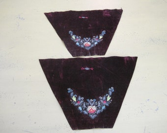 Antique Velveteen Embroidered Fabric Pieces