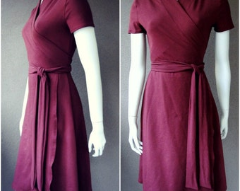 Long wrap dress, organic wrap dress, dark red dress, aline dress, handmade clothes