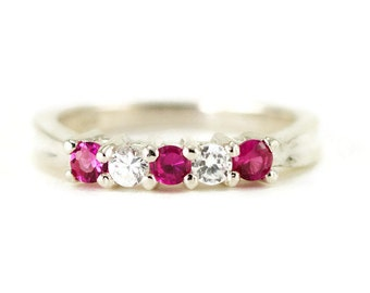 Ruby Anniversary Ring - Sterling Stacking Ring - July Birthstone Ring